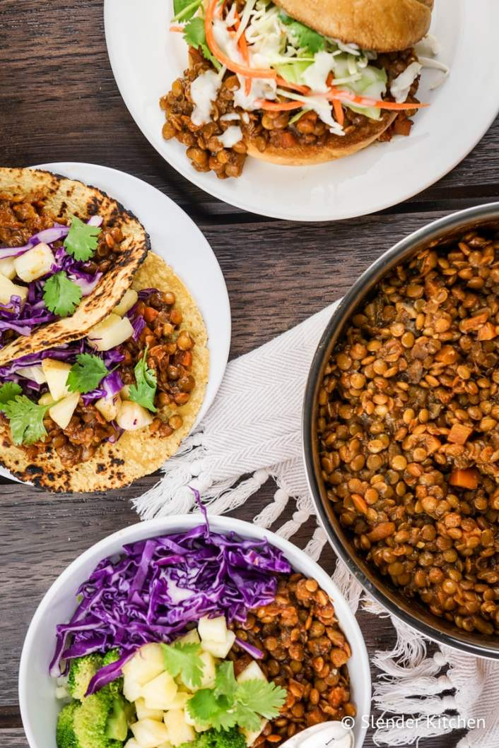 Barbecue Lentils served three different ways.