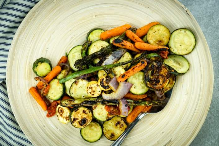 Grilled Vegetables with olive oil, balsamic vinegar, salt, pepper, and garlic.
