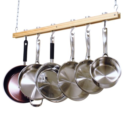 Cooks Standard Ceiling Mounted Wooden Pot Rack, Si...