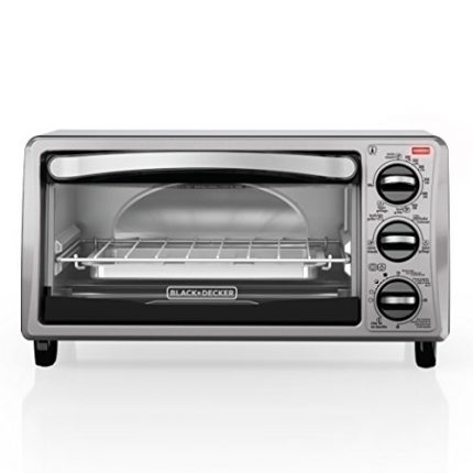 BLACK+DECKER TO1313SBD 4-Slice Toaster Oven, Inclu...