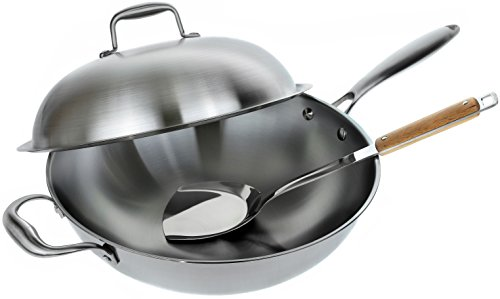 Stainless Steel Wok Pan with Lid - 13 inch Stir Fr...