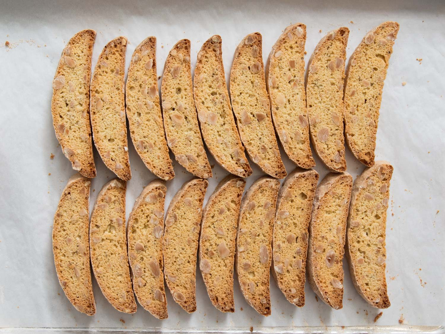 tray of baked biscotti