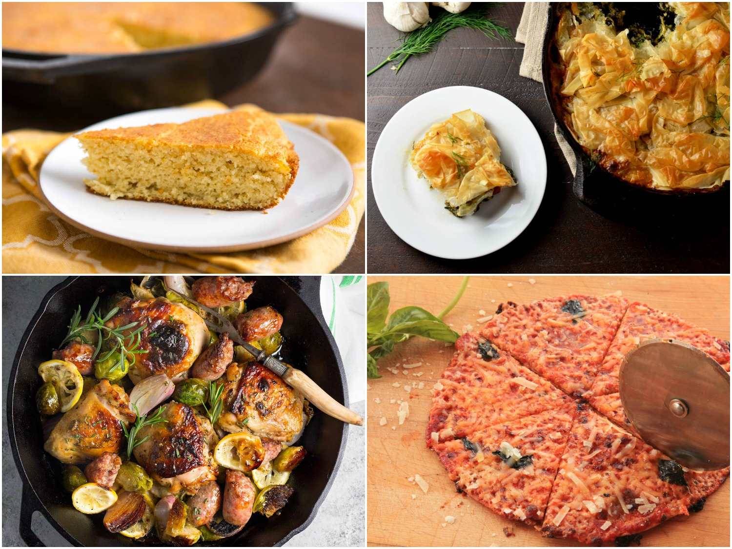 Photo collage of cast iron skillet recipes: Southern-style cornbread, chicken skillet spanakopita, roast chicken with Brussels sprouts and sausage, bar-style tortilla pizza