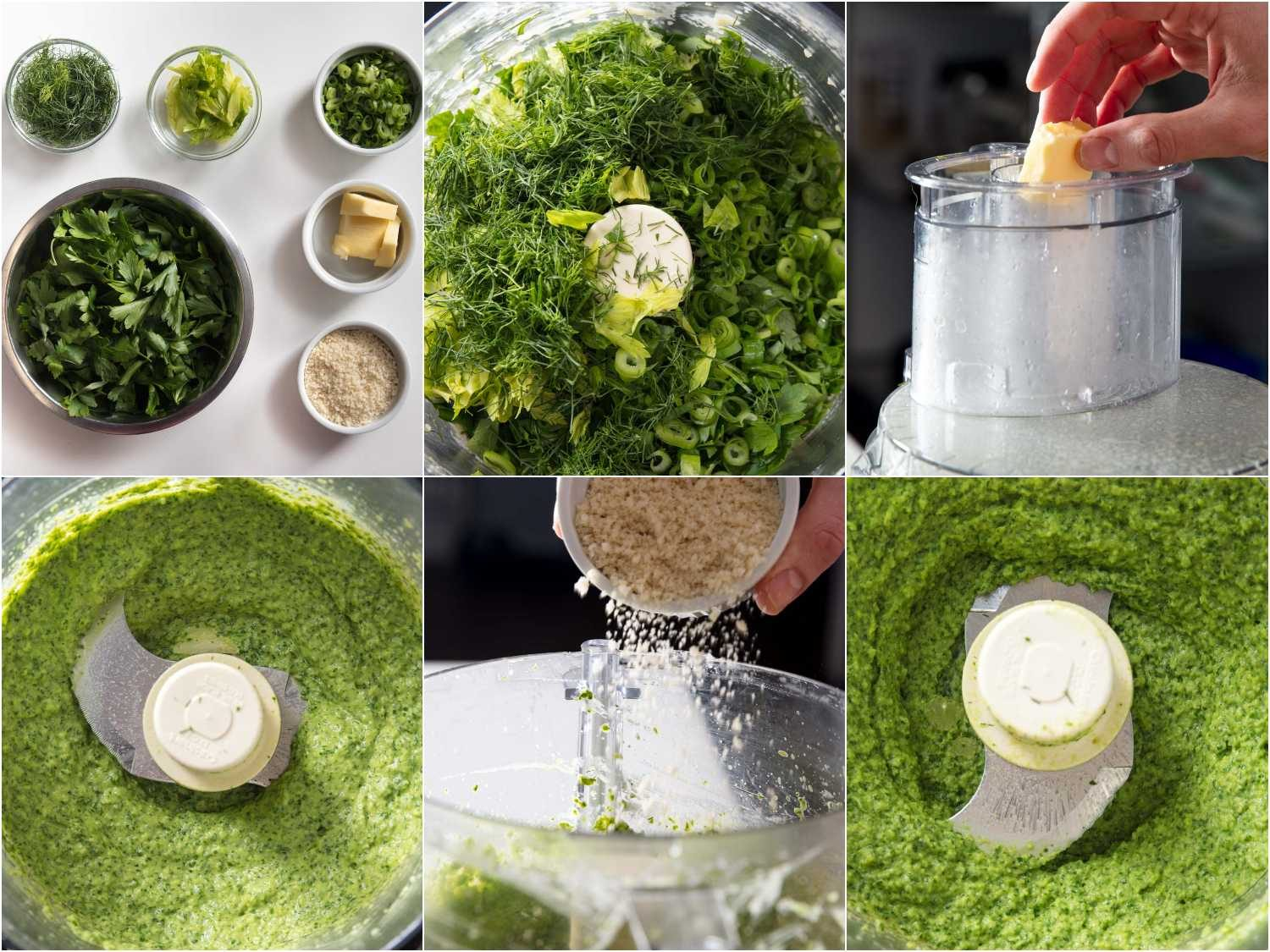 Processing herb topping for oysters Rockefeller