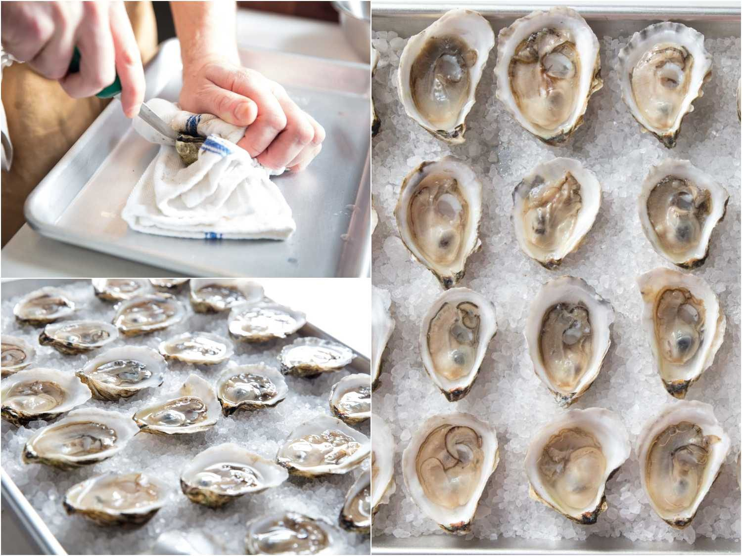 Shucking oysters and placing them on rock salt for oysters Rockefeller.