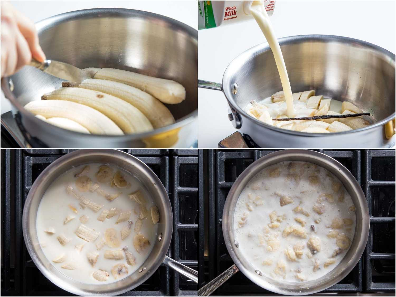 sliced bananas steeped with milk