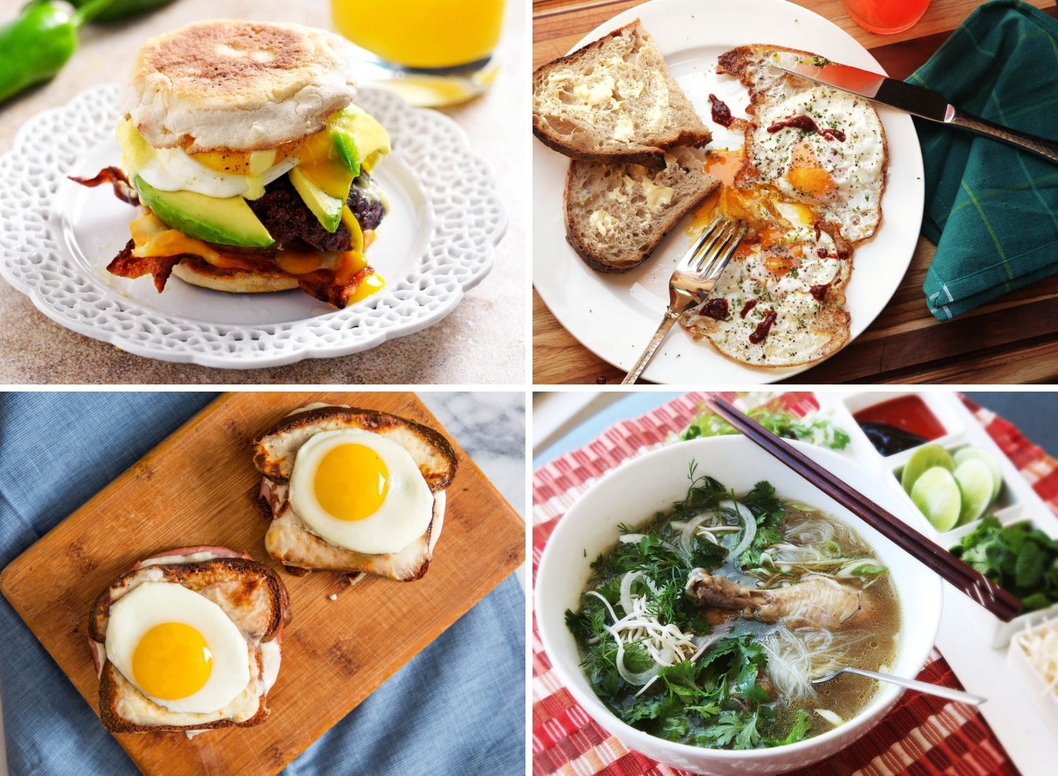 Photo collage of hangover-cure breakfast recipes: smashed burger on English muffin, crispy fried eggs with toast, croques madames, and chicken pho